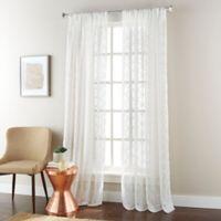 Jess 84-Inch Rod Pocket Sheer Window Curtain Panel in White