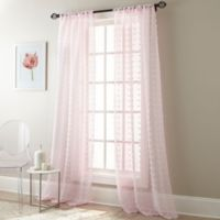 Olly Pom-Pom 84-Inch Rod Pocket Sheer Window Curtain Panel Pair in Baby Pink