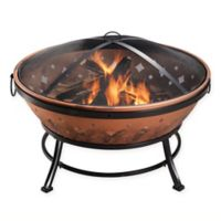 Round Steel Fire Pit with Protective Screen Cover in Copper Black