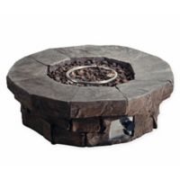 Round Propane Fire Pit in Faux Grey Stone