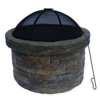 Round Wood Burning Stone Fire Pit with Cover