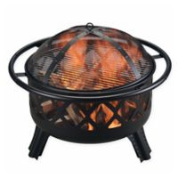 Round Wood Burning Fire Pit in Black