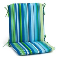 Stripe Mid Back Indoor/Outdoor Chair Cushion in Cool Ocean