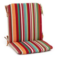 Stripe Mid Back Indoor/Outdoor Chair Cushion in Red