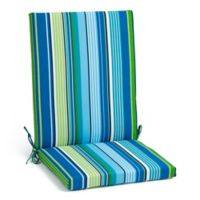 Stripe Indoor/Outdoor Folding Wicker Chair Cushion in Cool Tahoe