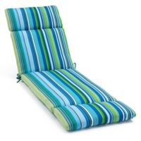 Stripe Chaise Indoor/Outdoor Chair Cushion in Cool Ocean