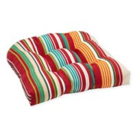 Stripe U Rounded Back Wicker Indoor/Outdoor Chair Cushion in Red