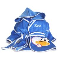Silly Phillie Creations® Size 2-4T Terry Velour Hooded Bathrobe in Royal Blue/White