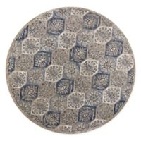 KAS Seville Mosaic 7'7 Round Area Rug in Pewter