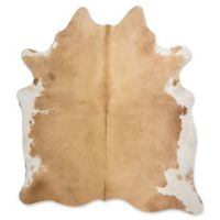 Rugs America Nash Cowhide 5' x 6'6 Handcrafted Area Rug in Beige/White