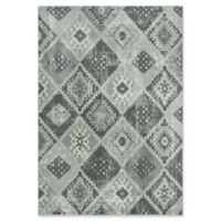 """Rizzy Home Geometric 5'3"""" X 7'6"""" Powerloomed Area Rug in Gray"""