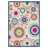 """Rizzy Home Circles 7'10"""" X 10'5"""" Powerloomed Area Rug in Cream"""