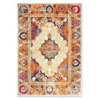 """Rizzy Home Central Medallion 5'3"""" X 7'6"""" Powerloomed Area Rug in Ivory"""