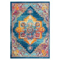 """Rizzy Home Central Medallion 5'3"""" X 7'6"""" Powerloomed Area Rug in Navy"""