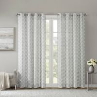 Madison Park Nadal Leaf Embroidered 63-Inch Grommet Sheer Window Curtain Panel in Grey
