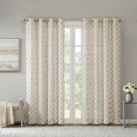 Madison Park Nadal Leaf Embroidered 95-Inch Grommet Sheer Window Curtain Panel in Blush