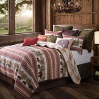 HiEnd Accents Bear Trail Reversible King Quilt Set in Taupe/Crimson