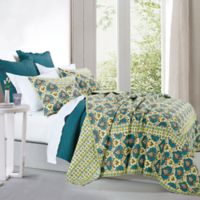 HiEnd Accents Salado Reversible Full/Queen Quilt Set in Turquoise