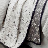 HiEnd Accents Fleur De Lis Reversible King Quilt Set in Grey/White