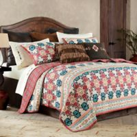 HiEnd Accents Phoenix Reversible King Quilt Set in Burgundy/Teal