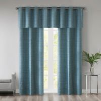 510 Designs Pike Grasscloth 63-Inch Window Curtain Panel Pair with Valance in Teal