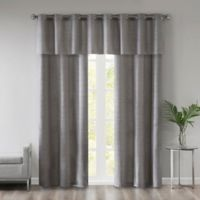 510 Designs Pike Grasscloth 95-Inch Window Curtain Panel Pair with Valance in Grey