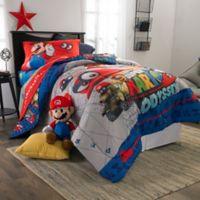 Super Mario Caps Off Twin/Full Comforter Set in Red