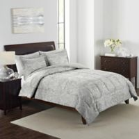 Boho Damask 3-Piece King Comforter Set in Grey