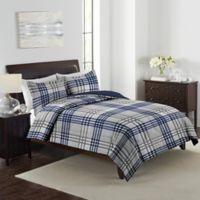 Marjorie Plaid 3-Piece Reversible King Comforter Set in Navy