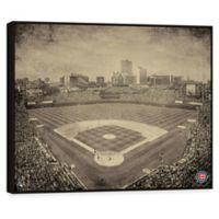 MLB Chicago Cubs Vintage Stadium Printed Canvas Wall Art with Frame