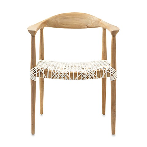 image of Safavieh Bandelier Reclaimed Teak Arm Chair with Light Oak Finish