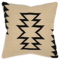Rizzy Home Arrow Square Indoor/Outdoor Throw Pillow in Ivory/Black