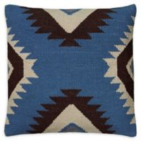 Rizzy Home Ikat Stripes Square Indoor/Outdoor Throw Pillow in Blue/Black