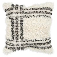 Rizzy Home Shag Stripe Square Throw Pillow in Natural