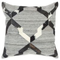 Rizzy Home Diamond Donny Osmond Square Throw Pillow in Natural/Black