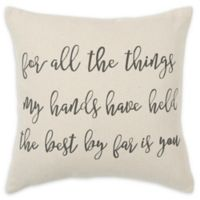 Rizzy Home All Things Square Throw Pillow in Natural