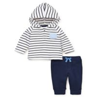 Little Me® Size 6M French Terry 2-Piece Hooded Top and Pant Set in Navy