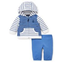 Little Me® Size 3M French Terry 2-Piece Hoodie Jacket and Pant Set in Blue
