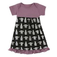 KicKee Pants® Newborn Cow Milk Dress in Black