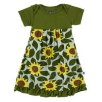 KicKee Pants® Newborn Sunflower Dress in Green