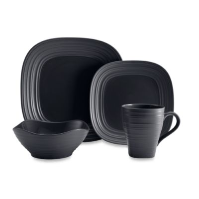 Mikasa® Swirl Square 4-Piece Place Setting in Graphite  sc 1 st  Bed Bath u0026 Beyond : black and white square dinnerware sets - pezcame.com