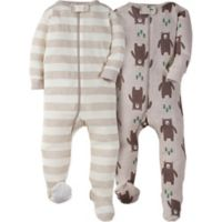 Gerber® Size 3M 2-Pack Bear Footies in Oatmeal