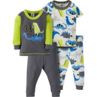 Gerber® Size 3T 4-Piece Dino Pajama Set in Grey/Green
