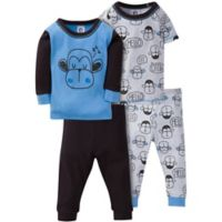 Gerber® Size 12M 4-Piece Hello Monkey Pajama Set in Blue/Black