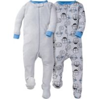 Gerber® Size 3M 2-Pack Monkey Footies in Grey