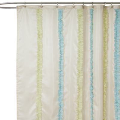 Beautiful Aria Blue And Green Fabric Shower Curtain