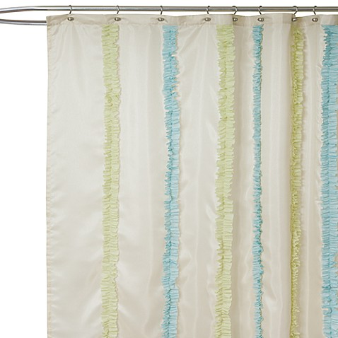 Aria Blue And Green Fabric Shower Curtain Bed Bath Amp Beyond