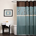 Cocoa Flower Blue Fabric Shower Curtain