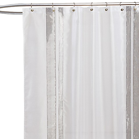 Buy Jewel White Fabric Shower Curtain From Bed Bath Beyond
