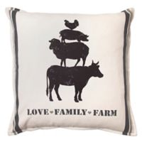"Bee & Willow™ Home ""Love Family Farm"" Square Throw Pillow in Natural"